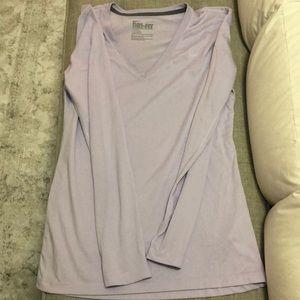 Lavender long sleeved vneck running shirt